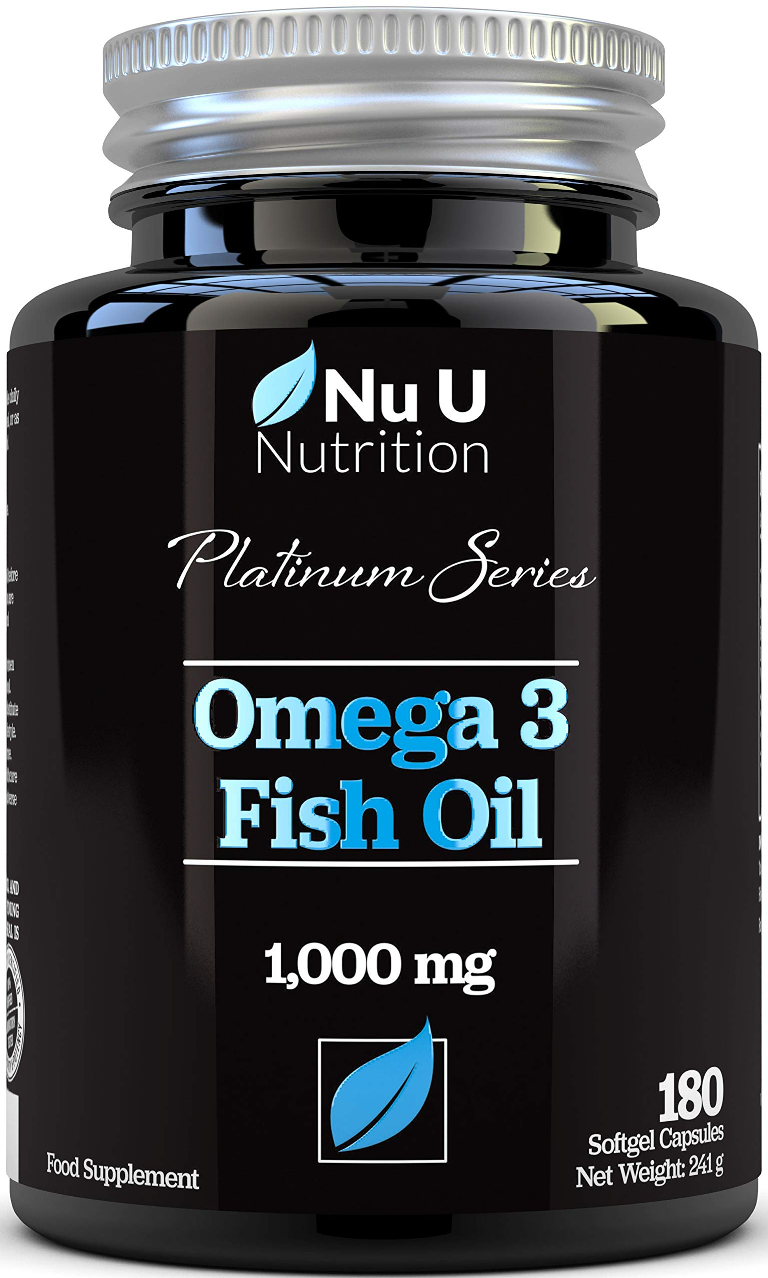 Omega 3 Fish Oil 1000mg Double Strength EPA & DHA Softgel Capsules, 180 (6 Month Supply) Premium Fish Oil Capsules 1000mg, Made in The UK