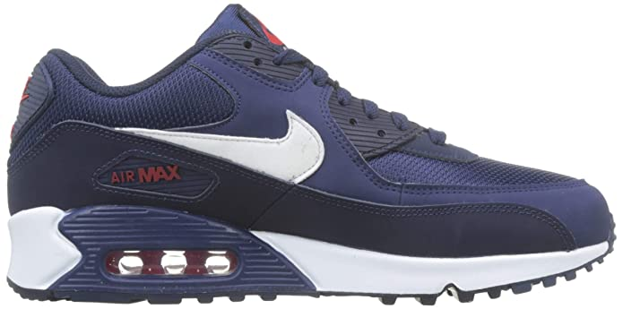 Nike Mens Air Max 90 Essential Running Shoes Midnight NavyWhiteUniversity Red AJ1285 403 Size 13