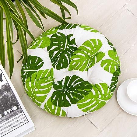 HomeMiYN - Cojines redondos para asiento de jardín, comedor, silla de cocina Tatami, suave y duradera, con lazos para silla, tela, Green Leaves, 45*45cm (1.5*1.5ft): Amazon.es: Hogar