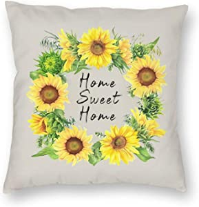 Bold And Brash Home Sweet Home Pillow Covers Pillow Protector Cushion Cover with Hidden Zipper, Sunflower Wreath Decorative Square Throw Pillow Case Set 18