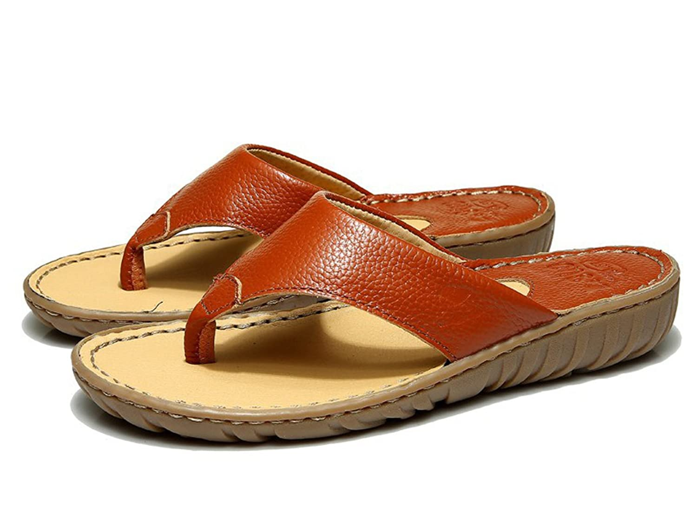 Insun Damen Sandalen Zehentrenner Normal Flach Ohne Verschluss Pantoletten Schuhe Gelb 37 52kID