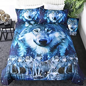 Sleepwish Blue Wolf Bedding Winter Wolves Animal Duvet Cover Nature Wildlife Creature Bed Set 3 Pieces American Wolf Bedspread (Twin)