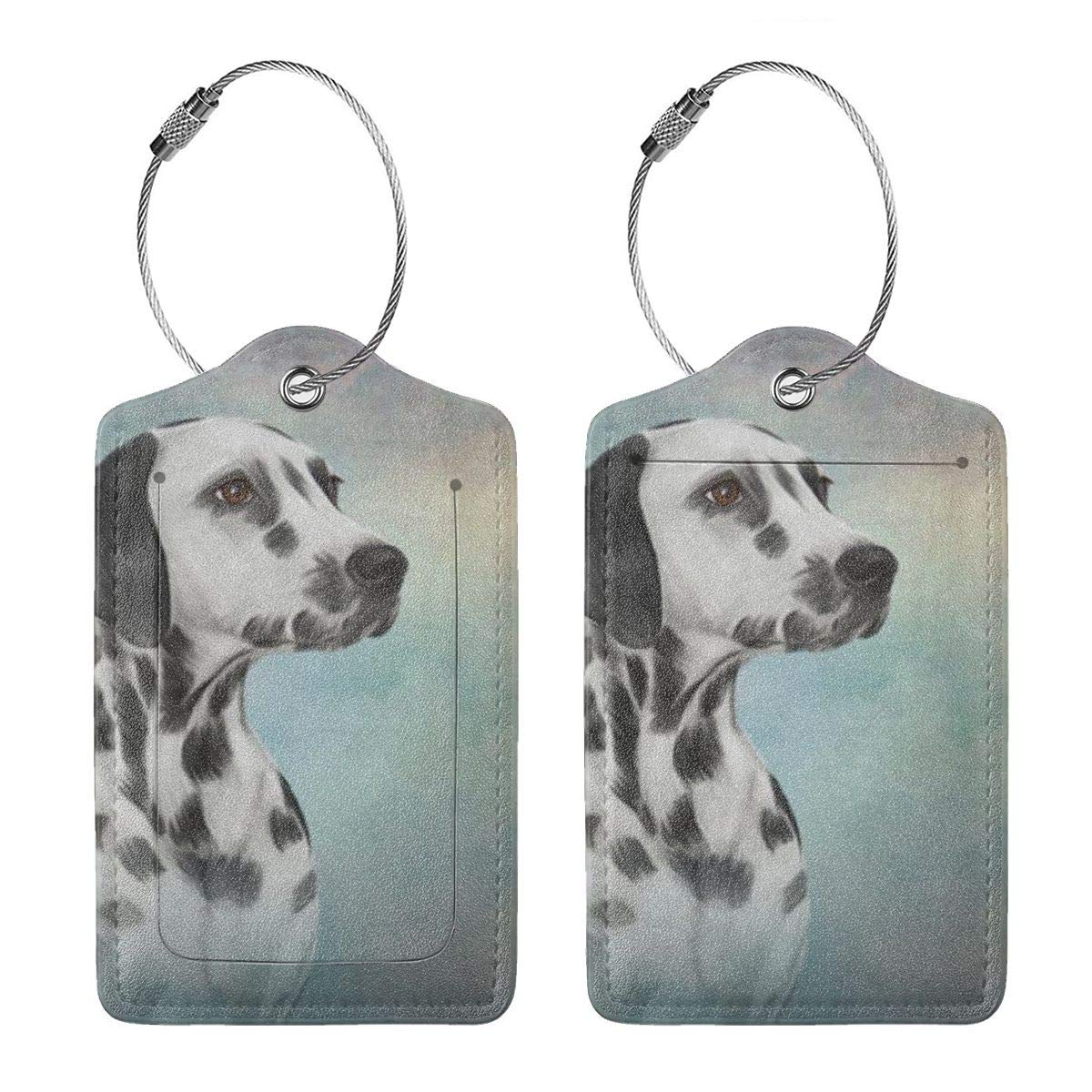 Dalmatian Dog Vintage Leather Luggage Tags Personalized Flexible Custom Travel Tags With Privacy Flap