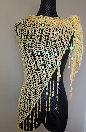 Belly Dance Triangle Sequin Pattern Fringed Hip Scarf Wrap Belt At