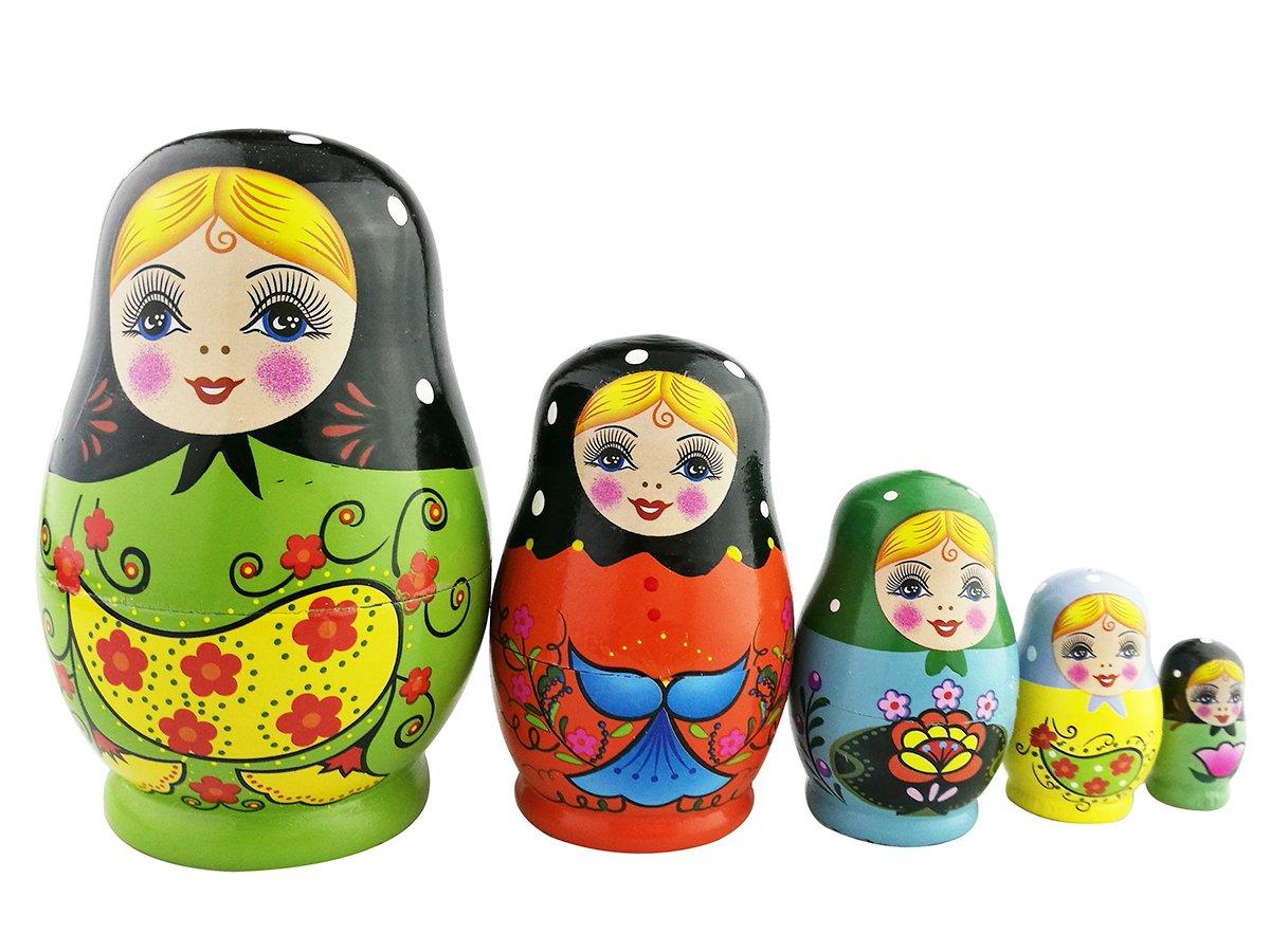 Winterworm Set of 5 Nesting Dolls Matryoshka Russian Doll Popular Handmade Kids Girl Gifts Christmas Toy-Green Flower Egg Type
