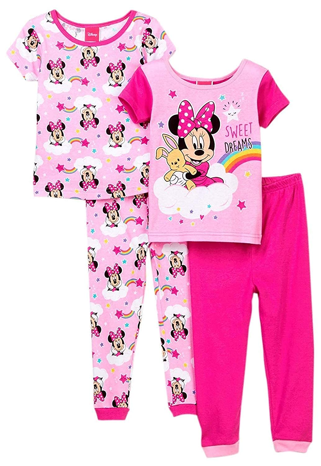Toddler Sizes 2T-4T Disney Minnie Mouse Sweet Dreams Girls 4 Piece Pajama Set