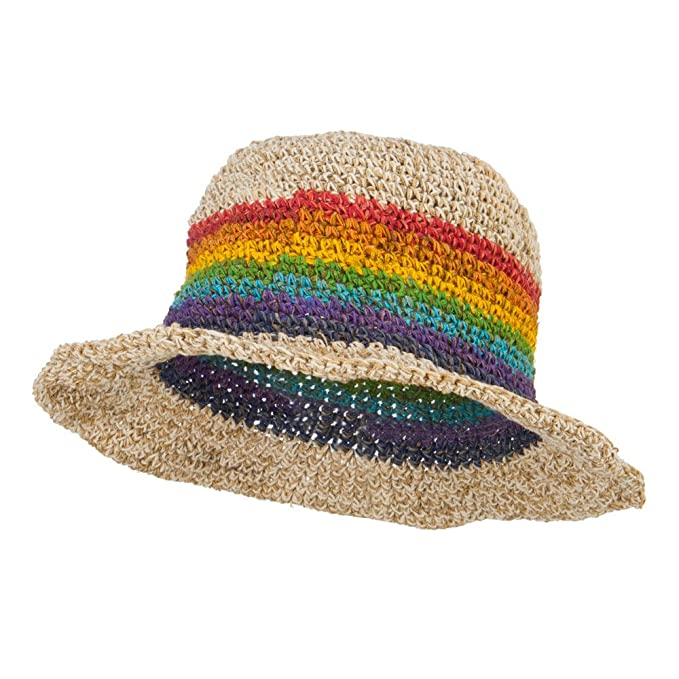 Hippie Hats,  70s Hats Hemp Hat with Rainbow $36.99 AT vintagedancer.com