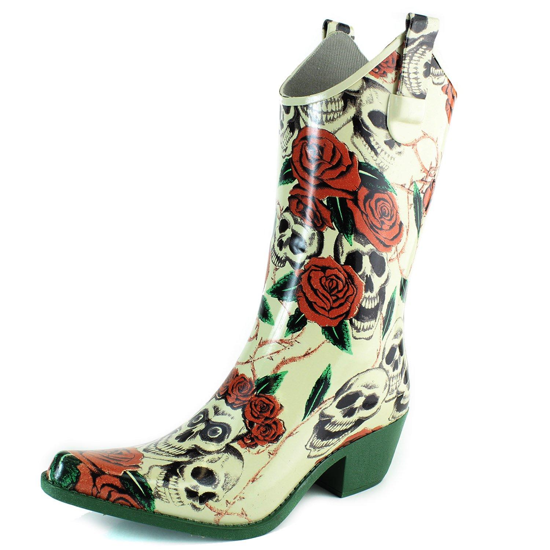 DailyShoes Cowboy Rose Skull Floral Prints High Heel Rain Boots,8 B(M) US