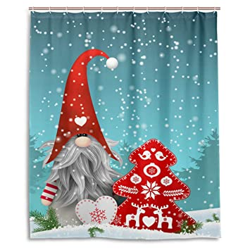 Lovely Sprite Christmas Gnome Snowman Snow Reindeer Shower Curtain Polyester Waterproof Mildew Proof Merry