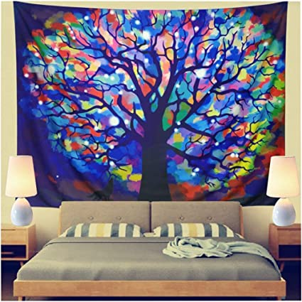 Leofanger Tapestry Colorful Tree Tapestry Wall Hanging Tie Dye Tree  Tapestry Psychedelic Forest Tapestry Watercolor Tree