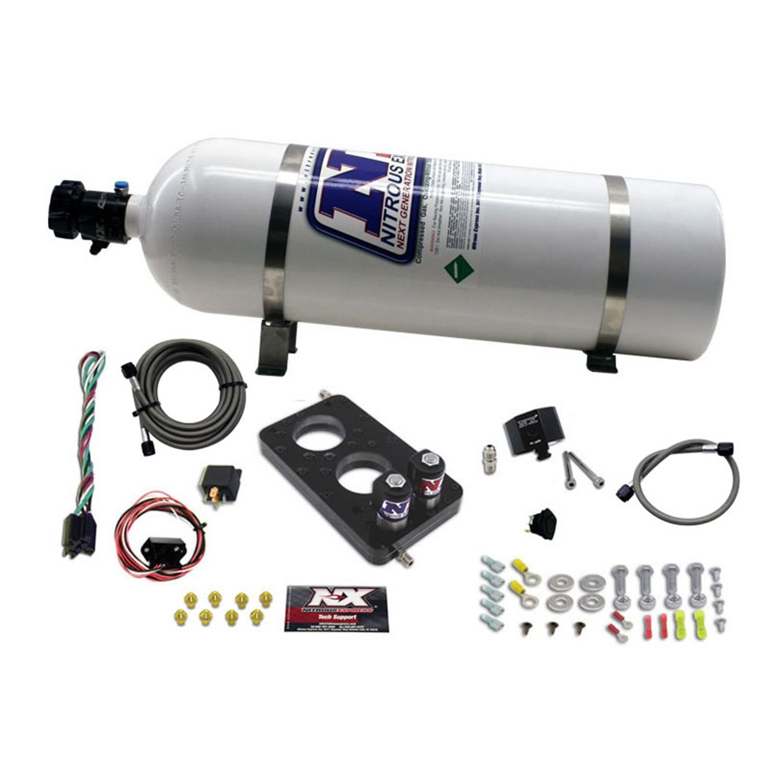 Nitrous Express 20947-15 50-150 HP 3-Valve Plate System with 15 lbs. Bottle for Ford 4.6L Engine