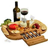 Upgraded Picnic at Ascot Bamboo Cheese Board - 50% larger Cutting surface than the Original - Bonus Cheese Markers - Designed in California