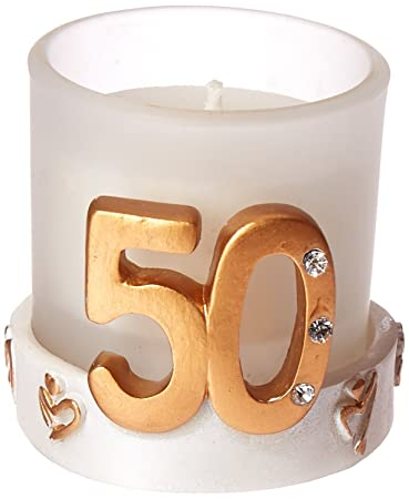 Amazon Golden 50th Anniversary Birthday Candle Favors 12