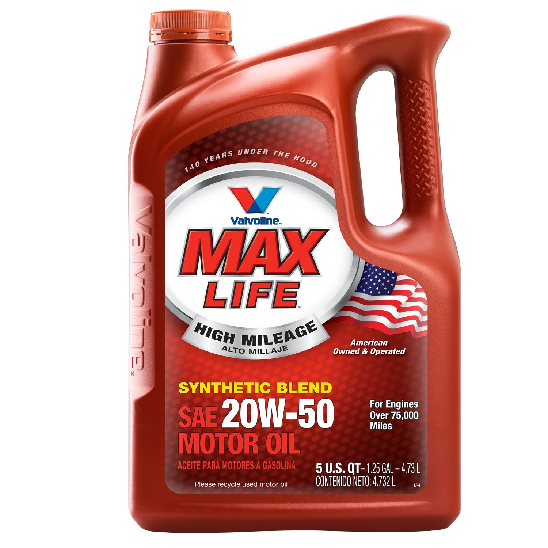 Valvoline 20W-50 MaxLife High Mileage Motor Oil - 5qt (Case of 3) (833358-3PK)