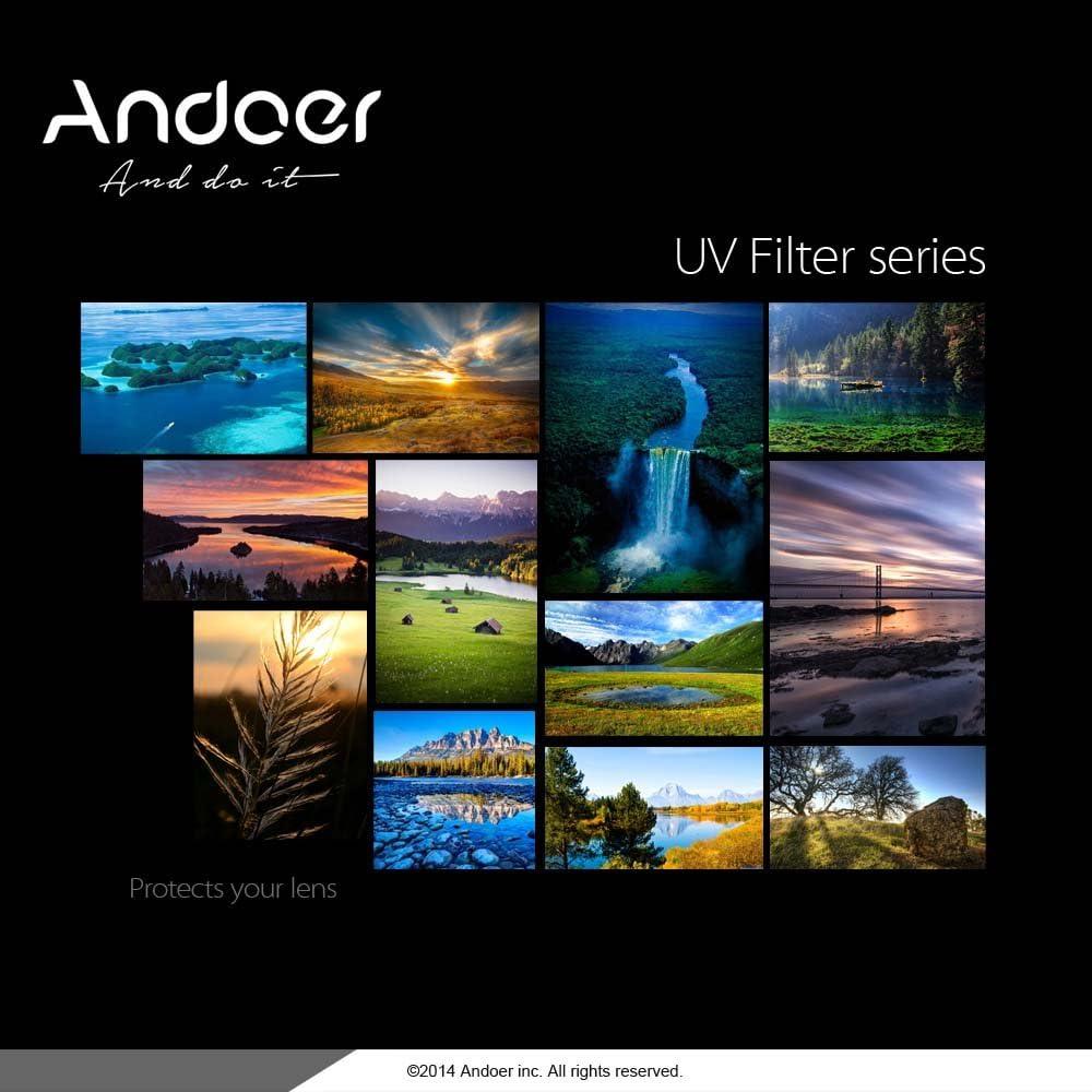 Andoer 82mm UV Ultravioletter Filter Objektiv-Schutz f/ür Canon Nikon DSLR Kamera