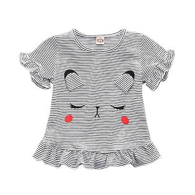 Yooan Cute Toddler Baby Girls Short Sleeve Striped Ruffled T-Shirt Tops Blouse Tee