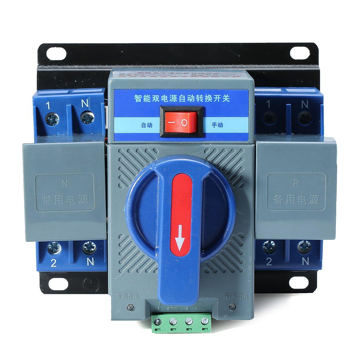 63A 2P 50HZ/60HZ Dual Power Automatic Transfer Switch 150137118mm