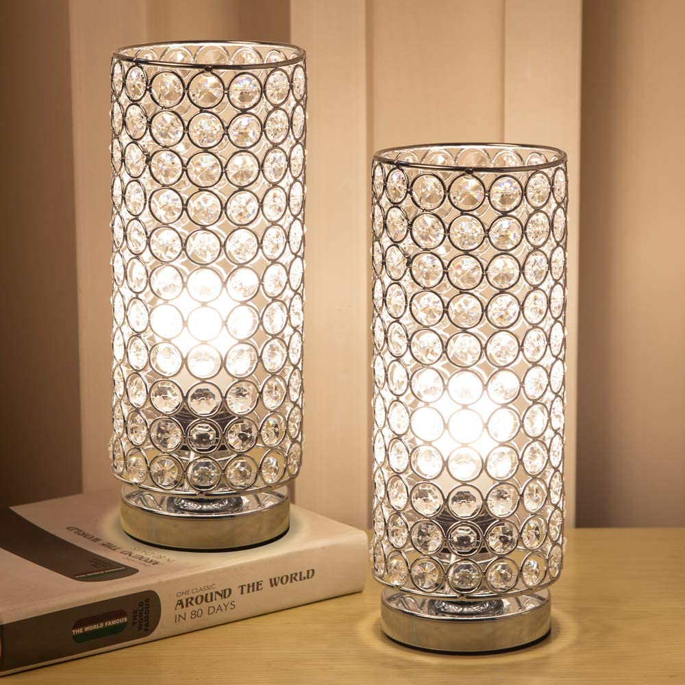 Focondot Crystal Table Lamp, Decorative Nightstand Room Lamps, Bedside  Night Light Lamp, Fashionable Small Table Lamp Set of 11 for Bedroom, Living