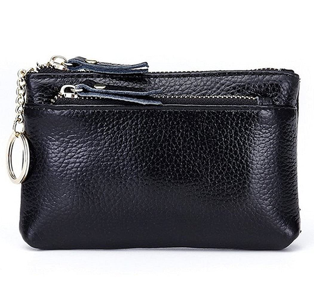 edmen 3-zipper Coin Purse変更ソフトレザークレジットカード財布キーリング付き  ブラック B01M1V1RL5