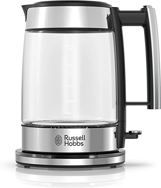 Amazon Com Russell Hobbs Glass 1 7l Electric Kettle Black Stainless Steel Ke7900bkr Kitchen Dining