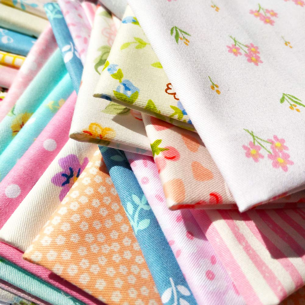 30cmx30cm flic-flac 25pcs 12 x 12 inches Cotton Fabric Squares Quilting Sewing Floral Precut Fabric Square Sheets for Craft Patchwork