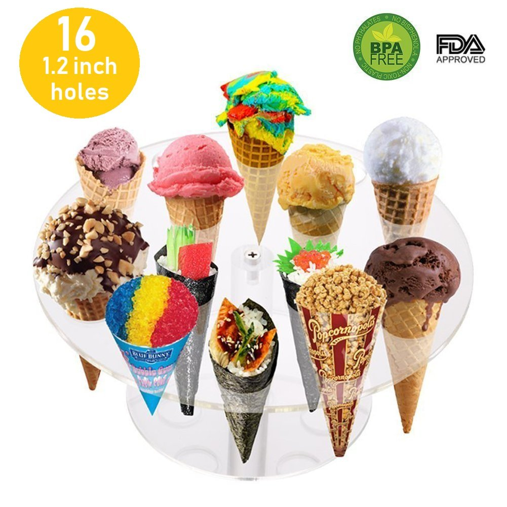 16 Holes Round Acrylic Cone Rack Ice Cream Holder Stand to Display Ice Cream Snow Cone Popcorn Candy French Fries Sweets Savory - 1.2'' Diameter Hole - Ice Cream Recipe eBook Included