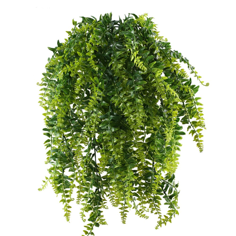 HOGADO 2pcs Artificial Hanging Ferns Plant Fake Plastic Hanging Greenery Plant kimberly Queen Boston Fern for Wall Indoor Outdside Hanging Basket Planter Floral Wedding Greenery Garland
