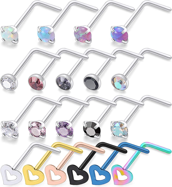Ocptiy 18G 20G 16Pcs Stainless Steel Stud Nose Ring Opal CZ Nose Body Piercing for Womens Mens 2mm