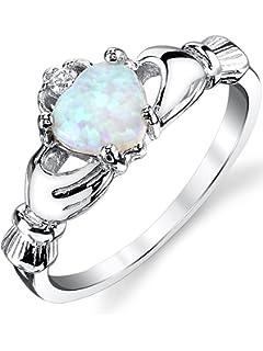 Bague en Argent sterling Claddagh - Bague de l amour et amitié avec opale  bleu 2bd9280e047b