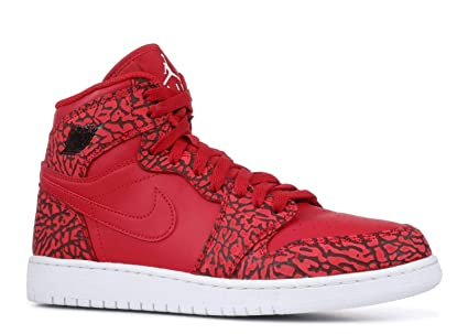 11b92a2eac1 Image Unavailable. Image not available for. Color  Nike Jordan Kids Air  Jordan 1 Retro Hi Prem BG Basketball Shoe ~ Team Red