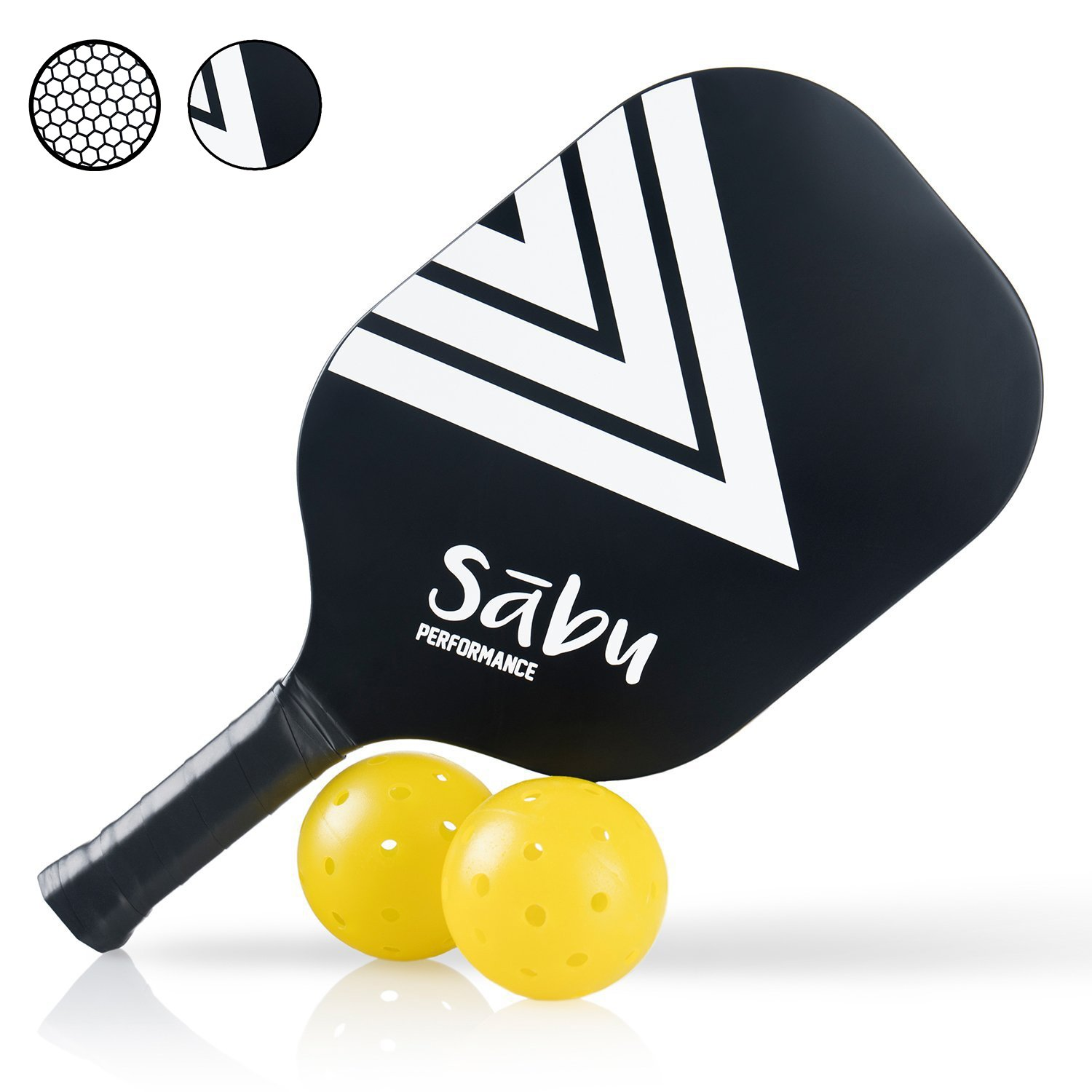 PickleBall Composite Paddle by Sabu: Performance Series - Best for intermediate or Beginners, Indoor or Outdoor Bonus Gift - 2 Balls Included in package Sabu Sports