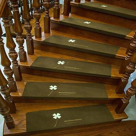 Poliestere Luminoso ricamato scalini antiscivolo Staircase Mat Treads decorativo stair passatoia area Rugs for home 2 pezzo Clover Coffee 21.7 x 8.7 x 1.8