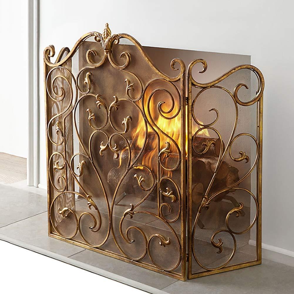 Scroll Spark-Schutz-Abdeckung 52x36in European Style 3-Panel-Schmiedeeisen Sicherheit Kamin Bildschirm Perforierte Dekorative Gold