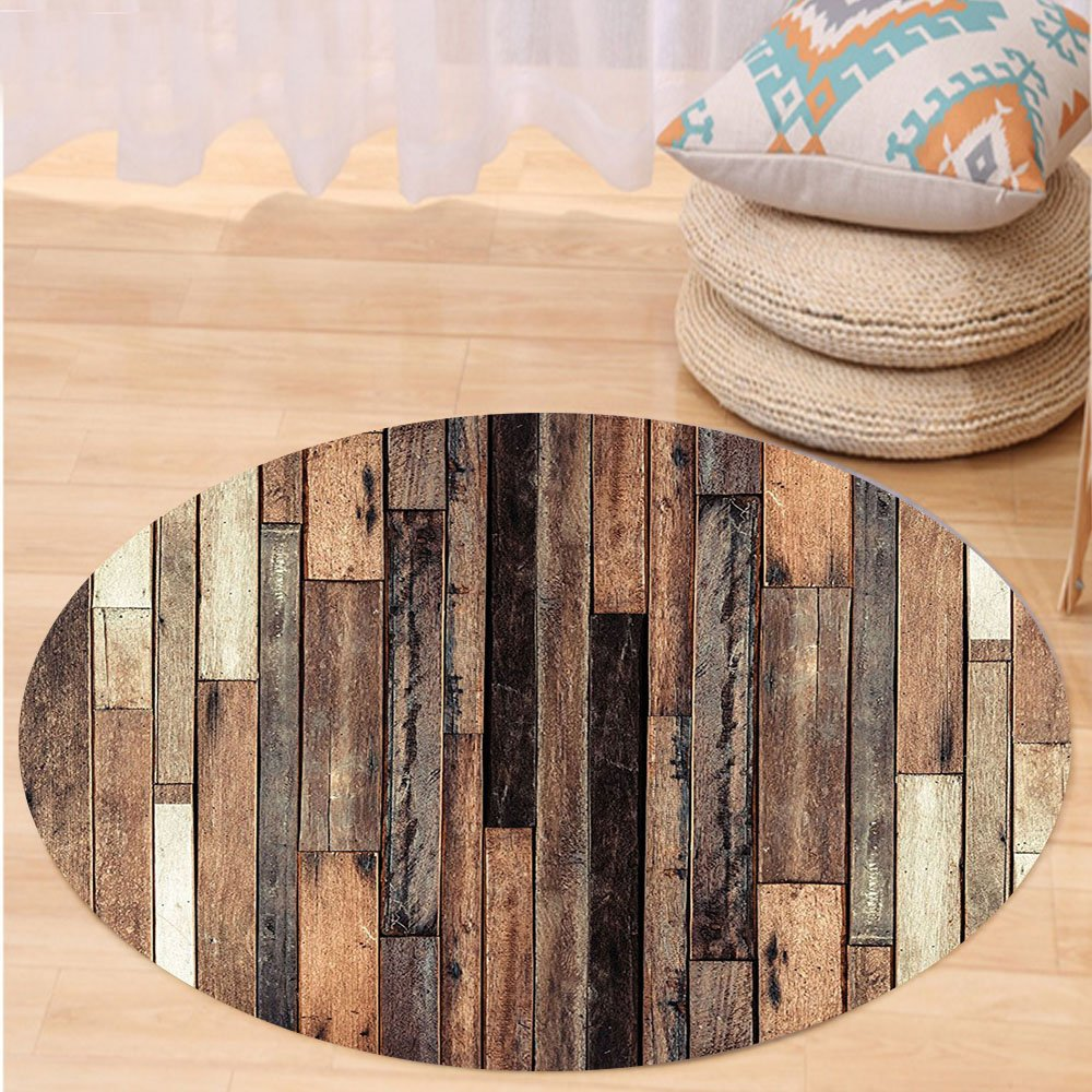 VROSELV Custom carpetWooden Brown Old Hardwood Floor Plank Lodge Garage Loft Natural Rural Graphic Artsy Print Bedroom Living Room Dorm Decor Brown Round 72 inches