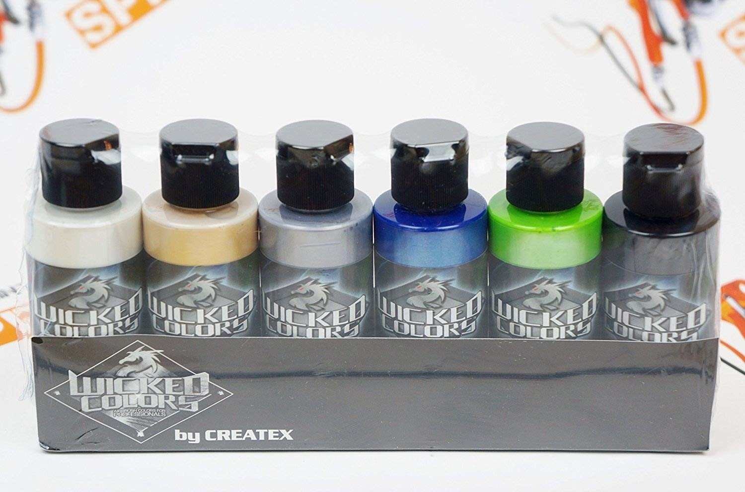 Createx Wicked Colors Pearl Set Airbrush Paint Water Based 6 2oz W105 Createx Colors 4336951325