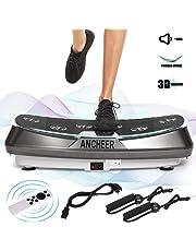 ANCHEER Plateforme Vibrante Fitness, Technologie de 3D Vibrations, 30 Niveaux de Vitesses avec Télécommande et 2 Bandes Elastiques d'Entraînement (JF-C04)