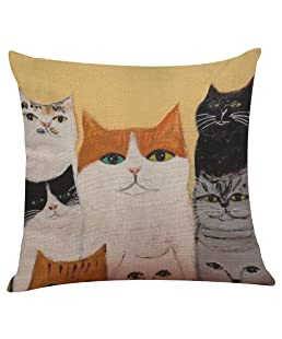 Anzzhon Funny Pillow Cases Cute Cat Pattern Pillow Covers Sofa Bed Home Decoration Festival Pillow Case Cushion Cover (43cmX43cm, D)