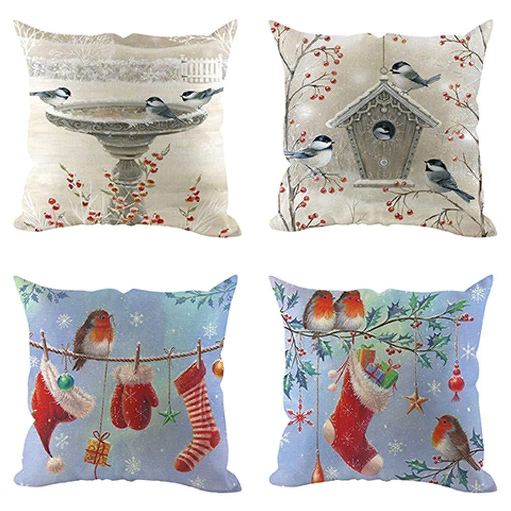 Negozio Xmiral Federa Cushion Covers Cuscino Caso Animale Stampa Modello per Ufficio Casa 45cm x 45cm,4 Pezzi A1 ECC Biblioteca Auto Bar