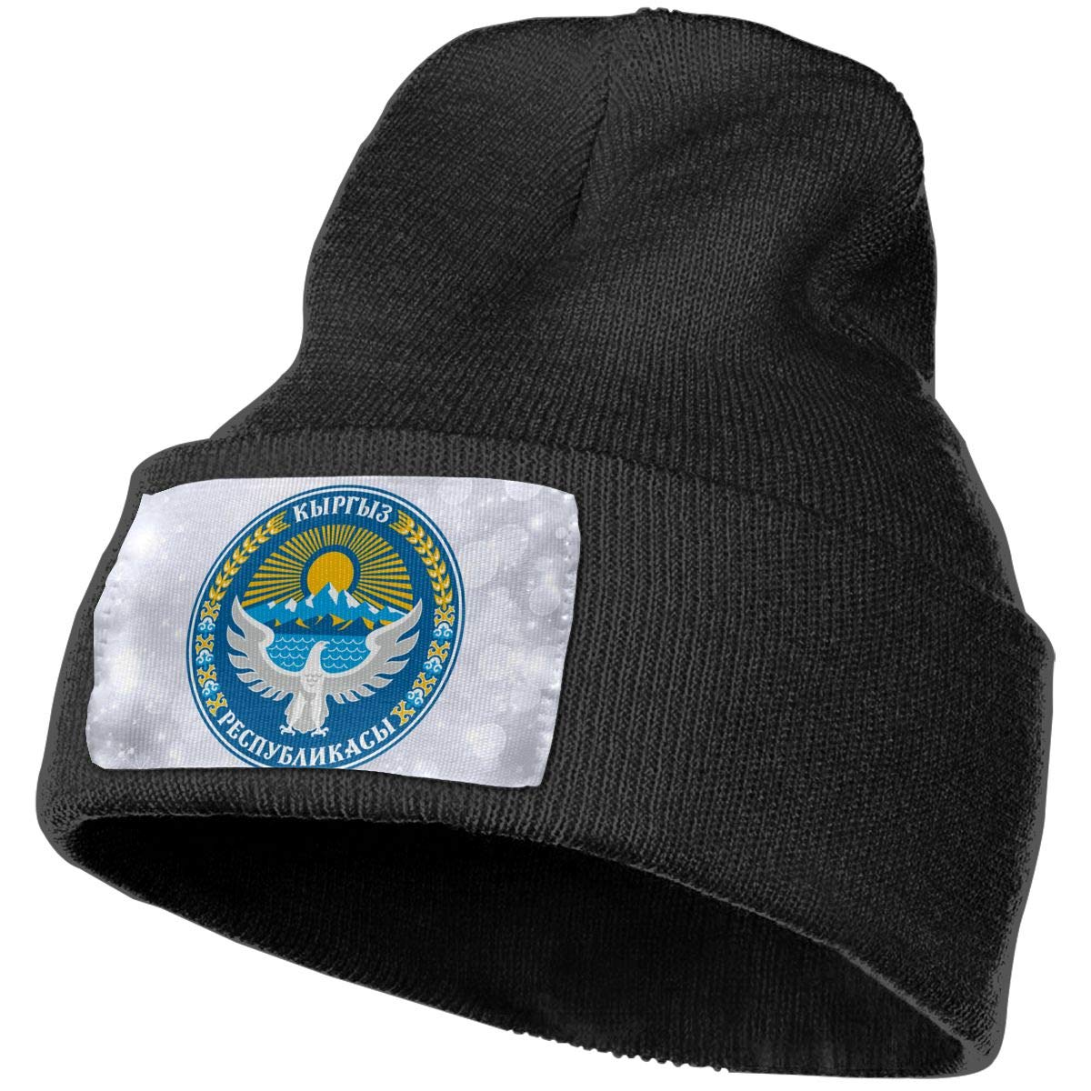 National Emblem of Kyrgyzstan Hat for Men and Women Winter Warm Hats Knit Slouchy Thick Skull Cap