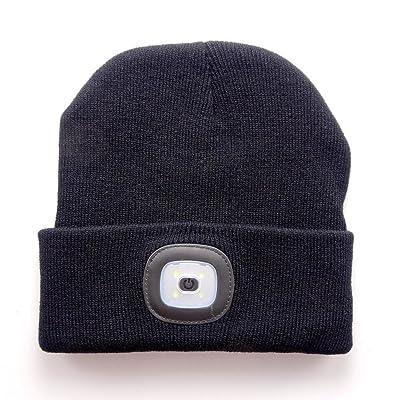 Mofek 4 Bonnet LED,USB LED Rechargeable Lumineux Casquette Lampe Frontale Bonnet Unisexe Hiver Chaud Knit Cap Chapeau