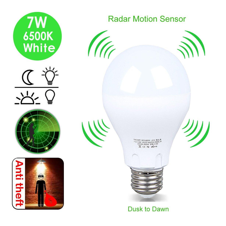 モーションセンサーライト電球、7 Wレーダー検知Dusk to Dawn LEDスマート電球, e26ベースホワイト6500 K 550lmインドアセンサーナイトライト、屋外モーションセンサーライト電球自動on / off B07BTQKB1K 14655