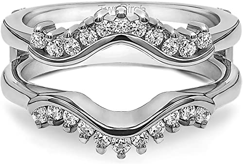Sterling Silver 1 3//4ct TGW Round Cubic Zirconia Solitaire Ring Guard