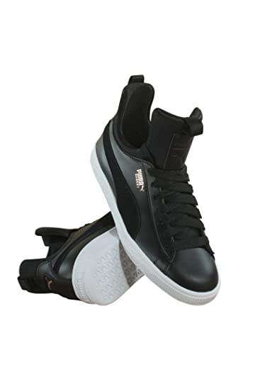 boys puma shoes, Puma black leather tennis shoes with gold