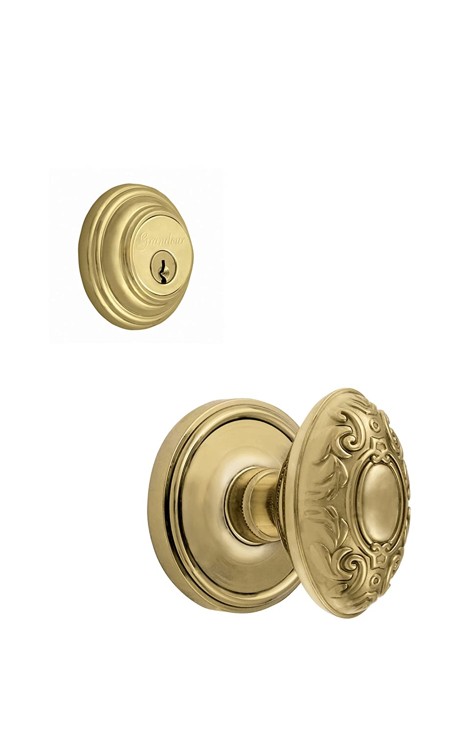 Lifetime Brass Grandeur Georgetown Rosette With Grande Victorian Knob And Matching Deadbolt Complete Single Cylinder Combo Pack Set