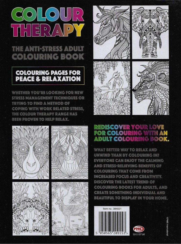 Colour Therapy   The Anti Stress Adult Colouring Book, Amazing Animals  Design: Amazon.co.uk: Toys U0026 Games