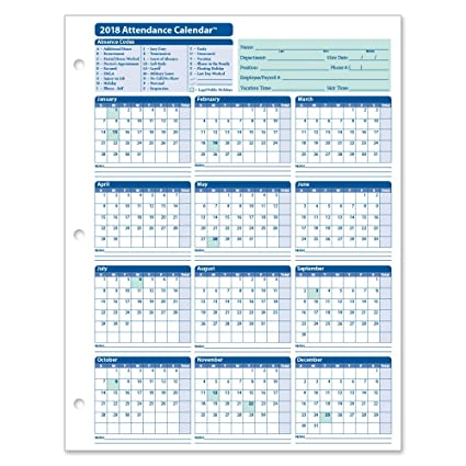 amazon com complyright 2018 attendance calendar card white pack