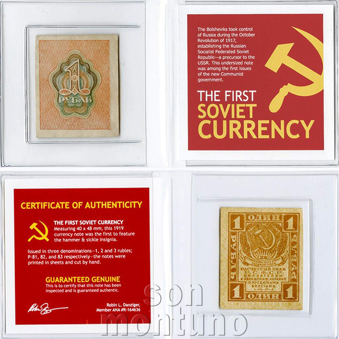 THE FIRST SOVIET CURRENCY COA 1919 Russia 1 Ruble P-81 Banknote in Folder