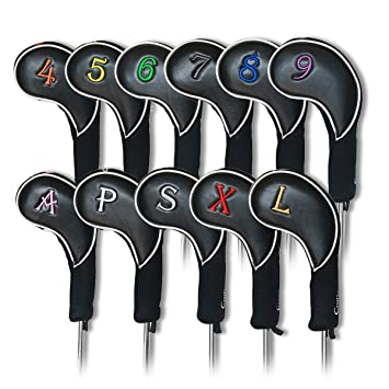 Artesano Golf negro juego de fundas para cabezas de hierro ...