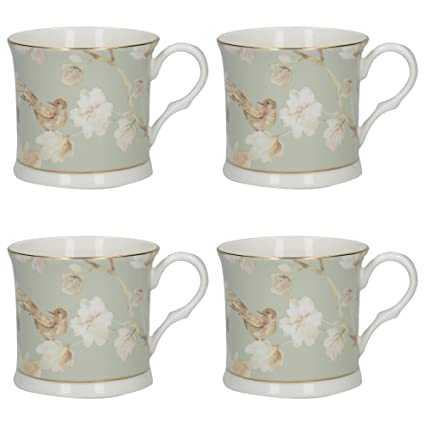 best selling authentic quality new york Creative Tops Palace-Shape 'Duck Egg Floral' Fine Bone China Printed Mugs  with Real Gold Rim, 300 ml (10.5 fl oz) - Pale Green (Set of 4)