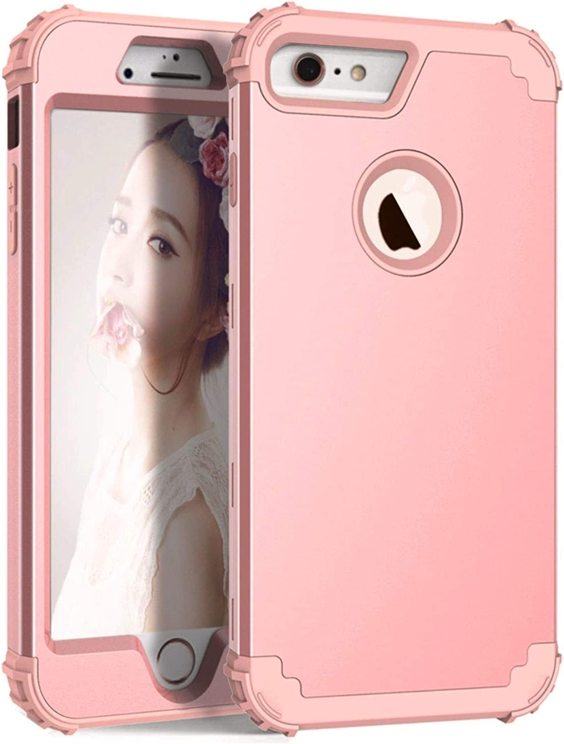 AWINNING iPhone 6 Plus iPhone 6s Plus Case Heavy Duty Shockproof Armor Defender 3in 1 Hybrid Hard PC & Soft Silicone Full Body Protective Phone Case for iPhone 6/6s Plus 5.5 inch – Rose gold